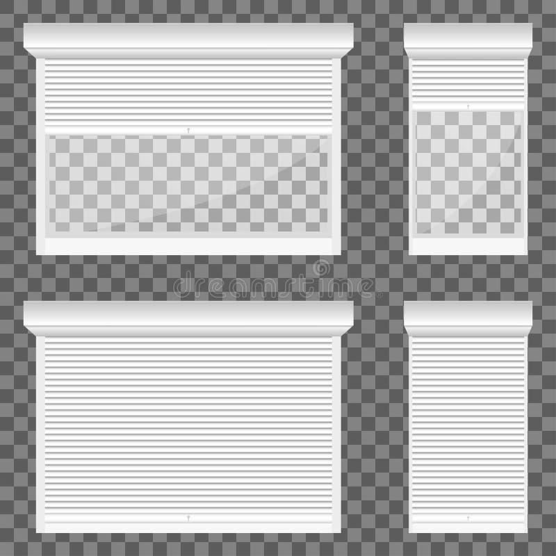 De blinden van de vensterrol in gesloten en helft-geopende positie, verschillende breedte worden geplaatst die vector illustratie