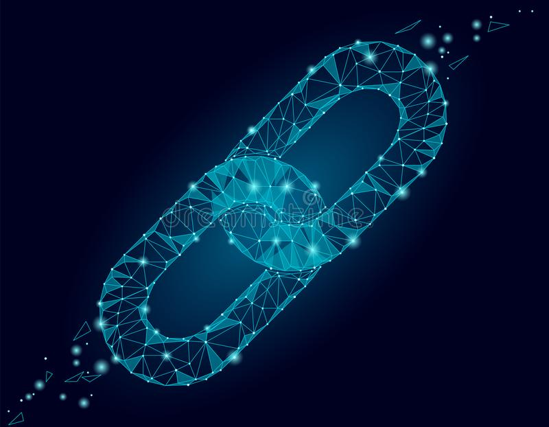 De Blockchain de lien de signe poly conception bas Affaires de sécurité polygonales de lien hypertexte de triangle d'icône de cha illustration libre de droits