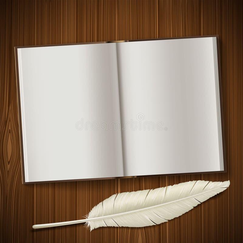 De blocnote en de veer liggen op een houten lijst stock illustratie