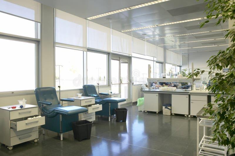 De bloeddonatiegebied van het het ziekenhuisgezondheidscentrum Medische transfusiebehandeling royalty-vrije stock afbeelding
