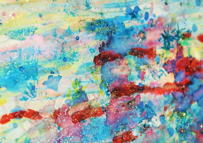 De bloedige rode roze blauwe blauwe wasachtige vlekken van pastelkleur fonkelende lichten, waterverfverf, kleurrijke tinten stock afbeeldingen