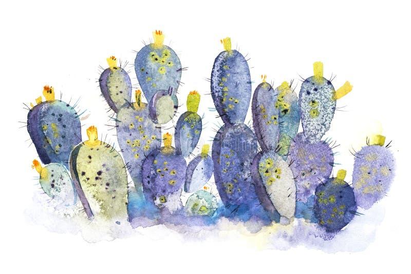 De bloeibloem van de waterverfhand getrokken stekelige cactus vector illustratie