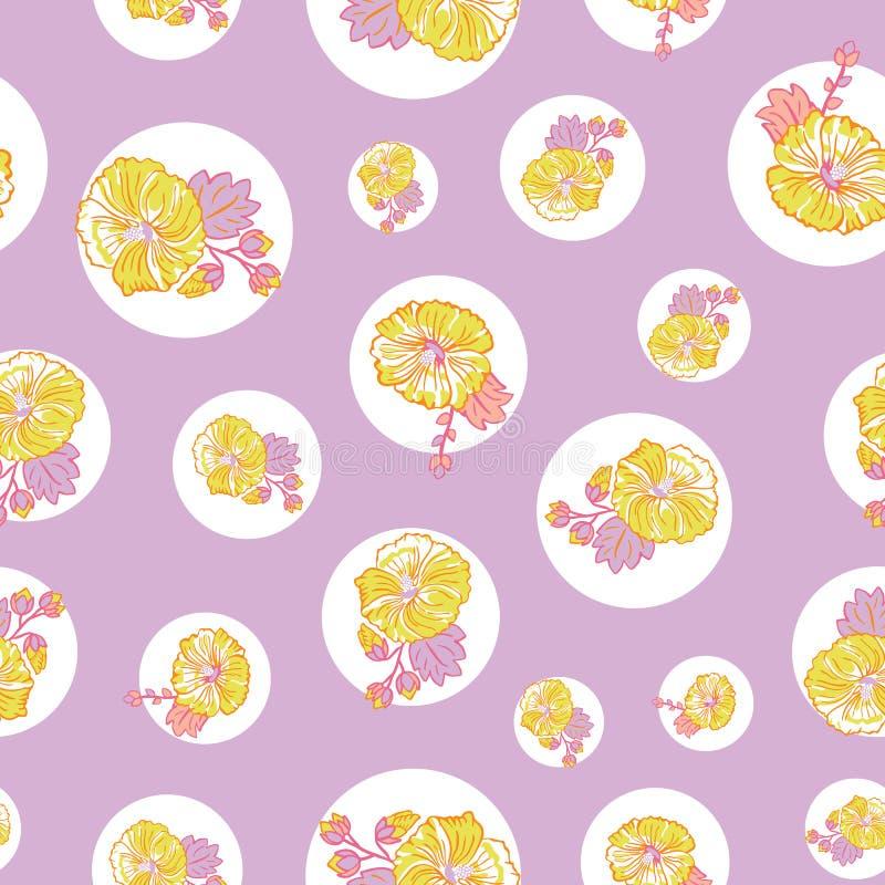 De bloeiende gele purpere malvebloemen op naadloze punten herhalen vectorpatroonachtergrond voor stof, het scrapbooking royalty-vrije illustratie