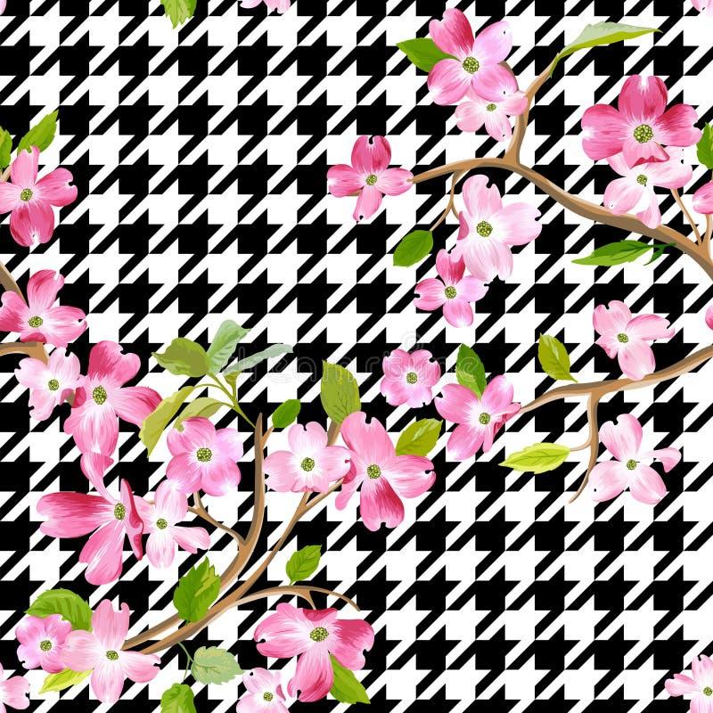 De bloeiende Lente bloeit Patroonachtergrond Naadloze Manierdruk royalty-vrije illustratie