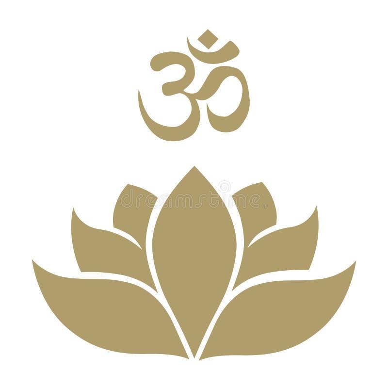 De bloem en aum het symbool van Lotus royalty-vrije illustratie