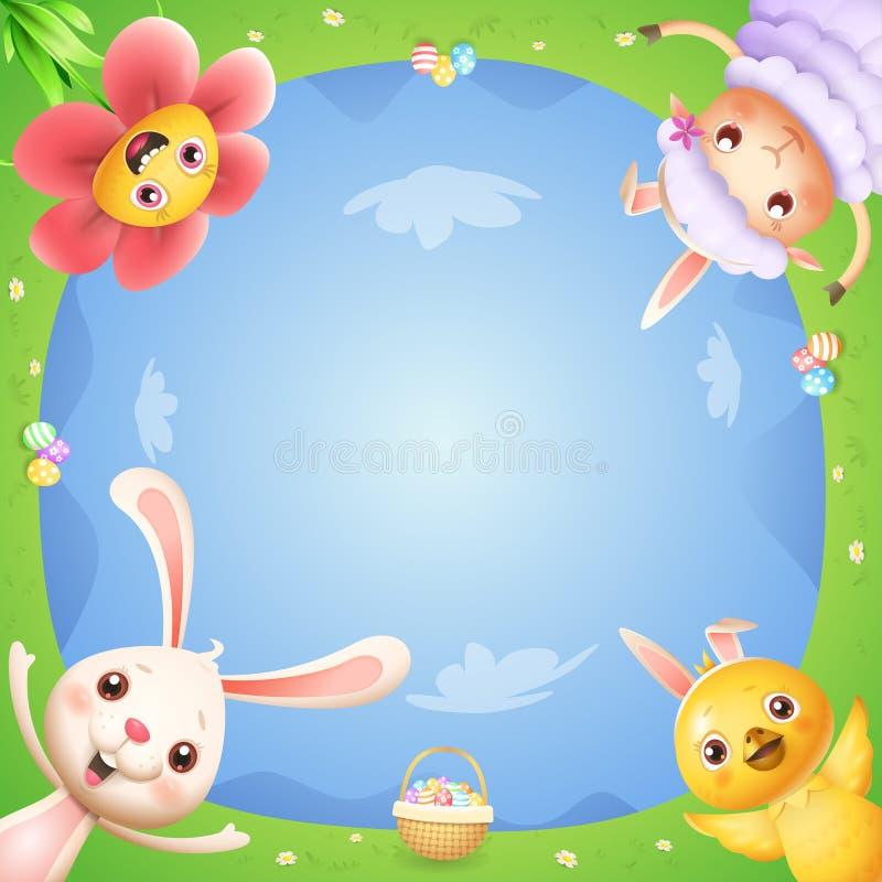De bloem en het lam van de paashaaskip op de lentelandschap met paaseieren vieren Pasen - onderaan mening royalty-vrije illustratie