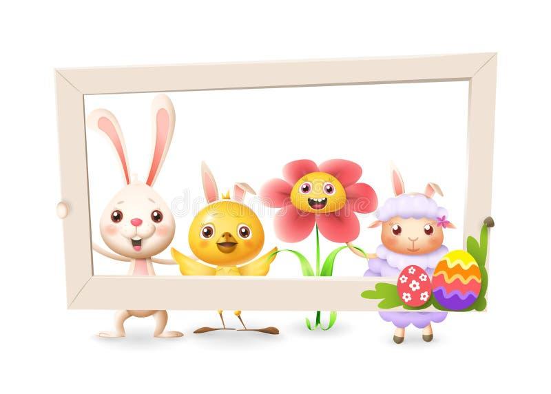 De bloem en het lam van de paashaaskip vieren Pasen met het sociale die kader van de netwerkfoto - op witte achtergrond wordt geï royalty-vrije illustratie