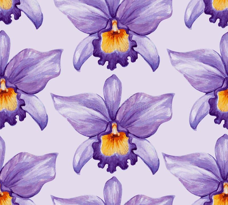 De bloem naadloos patroon van de waterverf tropisch orchidee vector illustratie