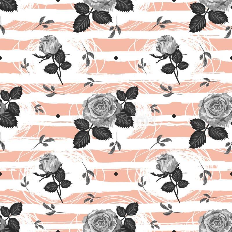 De bloem naadloos van het rozenpatroon Uitstekend In gestreept ontwerp als achtergrond, Elegante hand-drawn grijze rozen Vector royalty-vrije illustratie