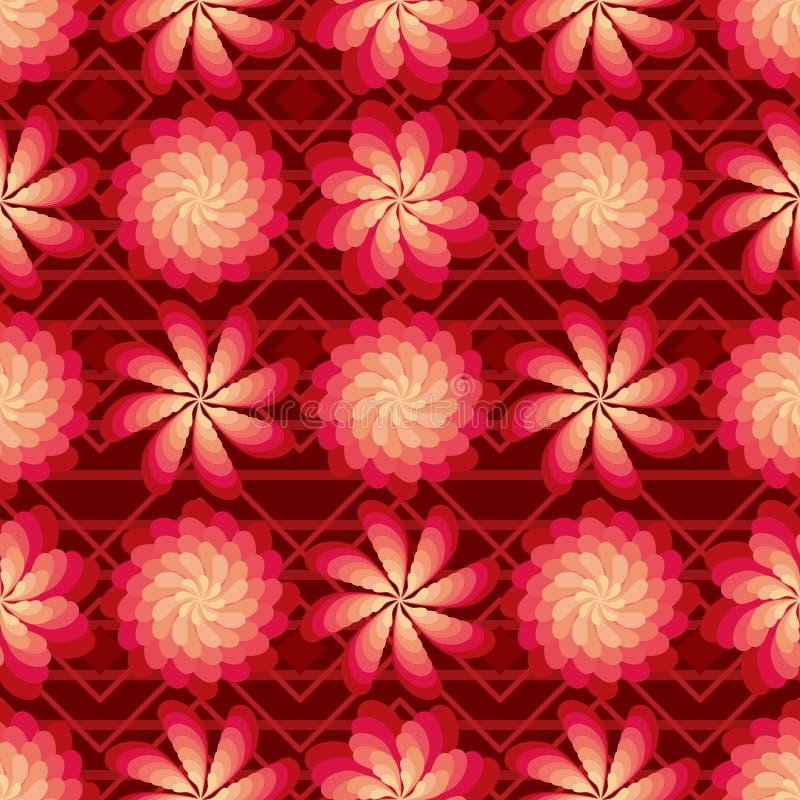 De bloem roteert windmolen rood helder naadloos patroon royalty-vrije illustratie
