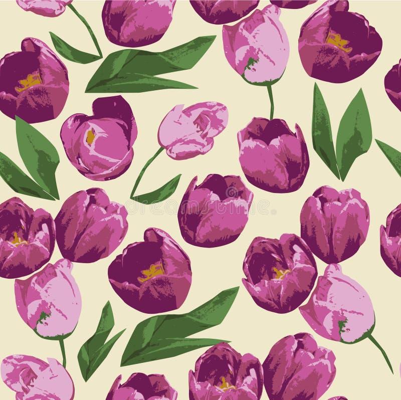 De bloem, tulp, roze, lente, de bloemen, aard, bloemen, nam, rood, tulpen, groene bloesem toe, geïsoleerd boeket, patroon, purple vector illustratie