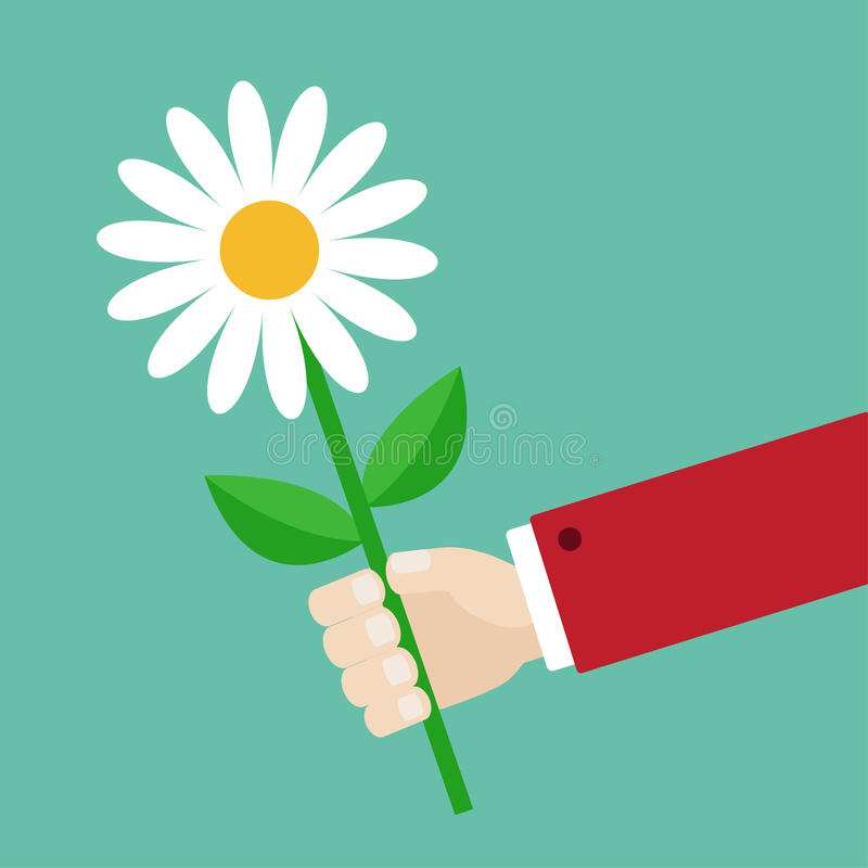 De bloem van de de holdingsmargriet van de zakenmanhand Het geven van giftconcept Leuk beeldverhaalkarakter Rood kostuum De kaart royalty-vrije illustratie