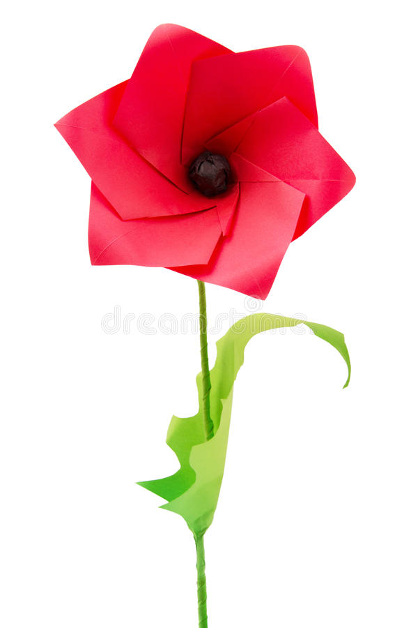 De bloem van de origamipapaver stock foto's
