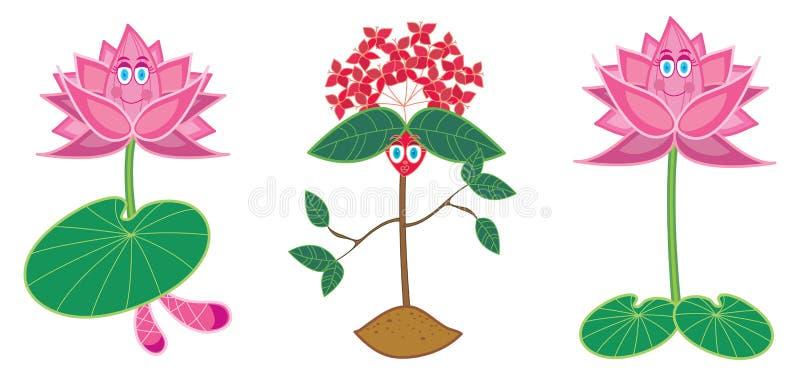 De bloem van de waterlelie en van ixora vector illustratie