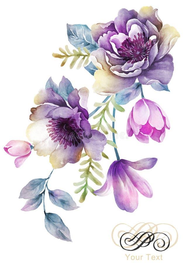 De bloem van de waterverfillustratie op eenvoudige achtergrond stock illustratie