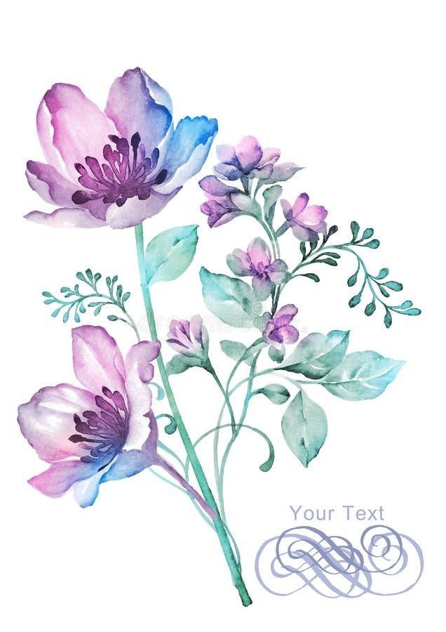 De bloem van de waterverfillustratie op eenvoudige achtergrond royalty-vrije illustratie