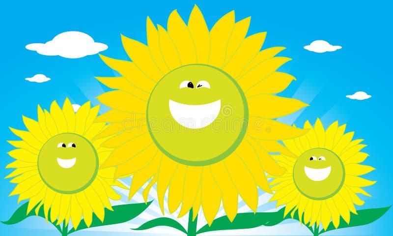 De Bloem van de Zon van de glimlach stock illustratie