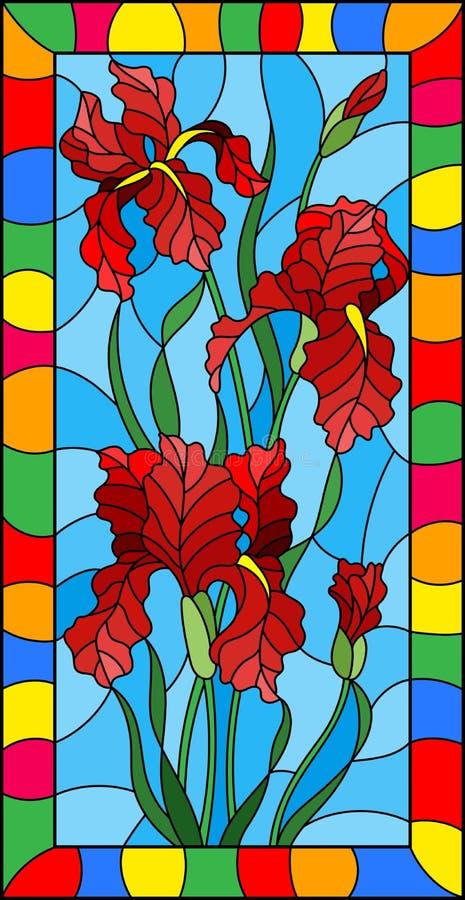 De bloem van de gebrandschilderd glasillustratie van rode irissen op een blauwe achtergrond in een helder kader, rechthoekig beel stock illustratie