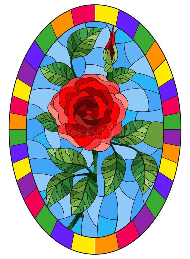 De bloem van de gebrandschilderd glasillustratie van rood nam op een blauwe achtergrond in een helder kader, ovaal beeld toe stock illustratie