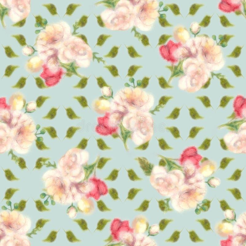 De bloem van de de kleurenlente van het onduidelijk beeldwater, naadloos patroon stock illustratie