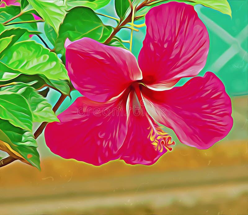 De bloem van de olieverfschilderijhibiscus stock afbeelding