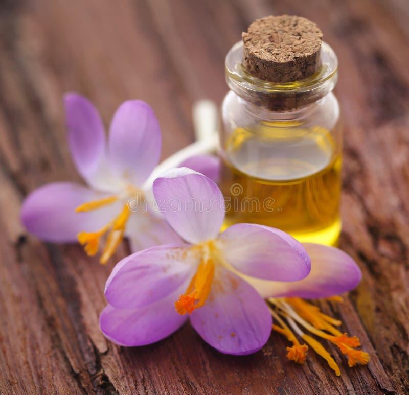 De bloem van de saffraankrokus met uittreksel in een fles royalty-vrije stock afbeeldingen