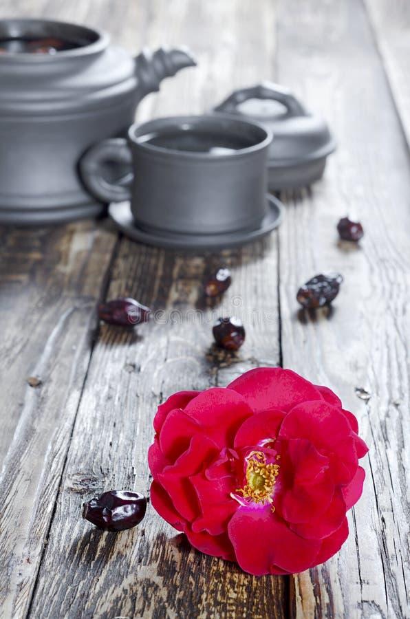 De bloem van de theestelrozebottel royalty-vrije stock fotografie