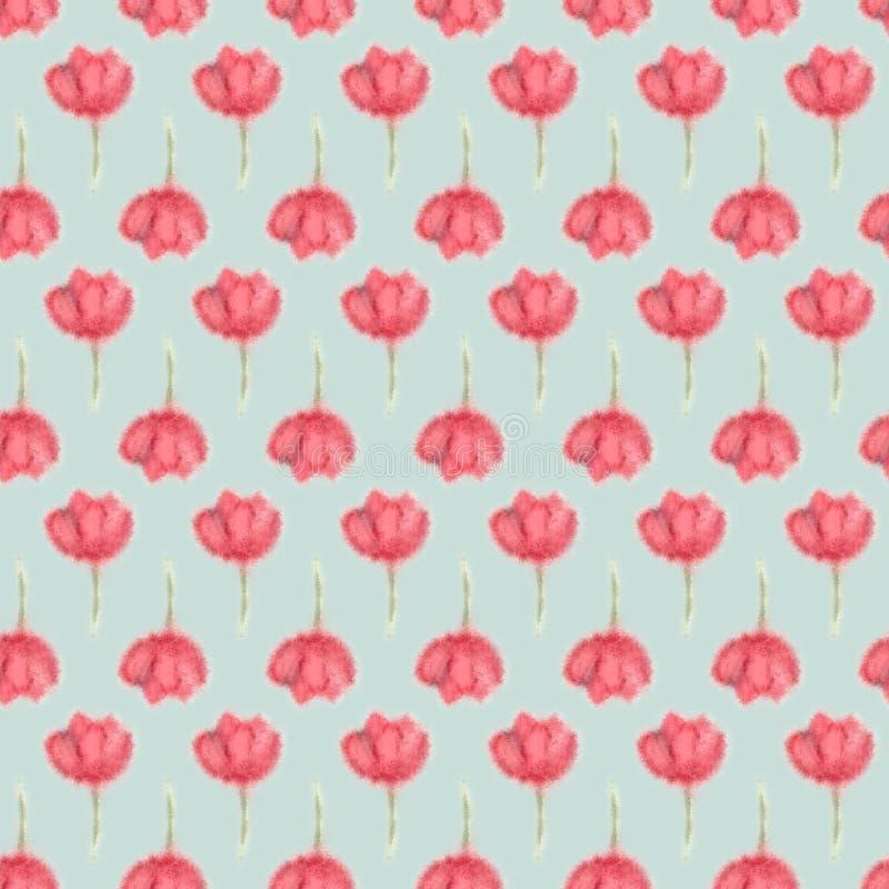 De bloem van de Watercolourlente, vertroebelt bloemen naadloos royalty-vrije illustratie