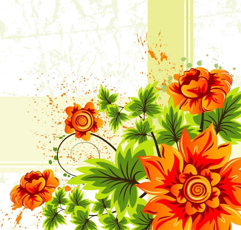 De bloemachtergrond van Grunge vector illustratie
