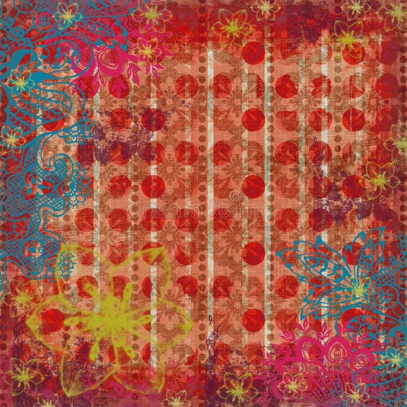 De bloemen Achtergrond van het Plakboek van de Zigeuner Kiezelachtige stock illustratie