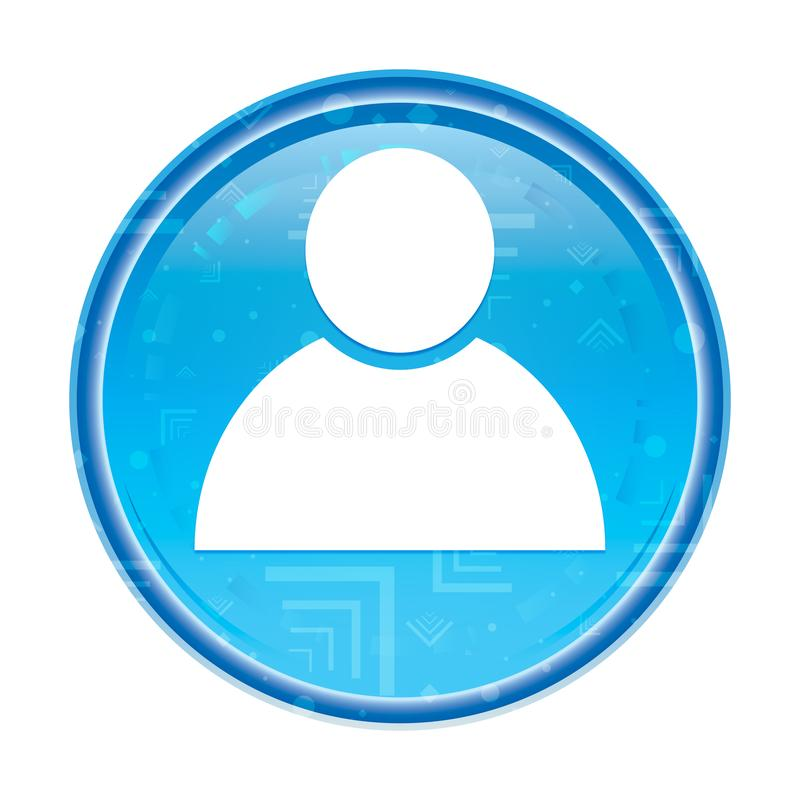 De bloemen blauwe ronde knoop van het persoonspictogram royalty-vrije illustratie