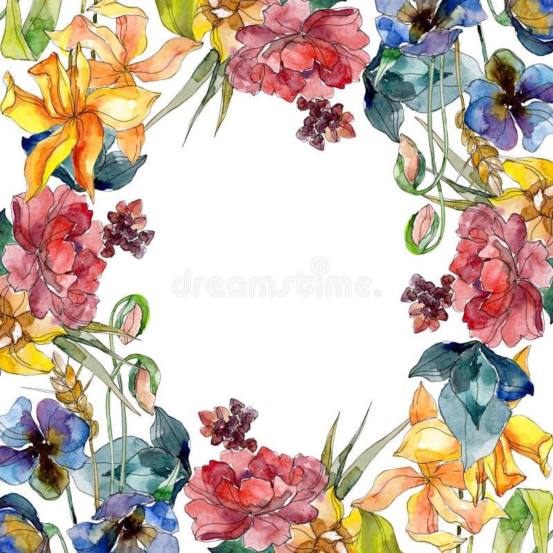 De bloemen botanische bloemen van het Wildflowerboeket Waterverf achtergrondillustratiereeks Het ornamentvierkant van de kadergre royalty-vrije illustratie