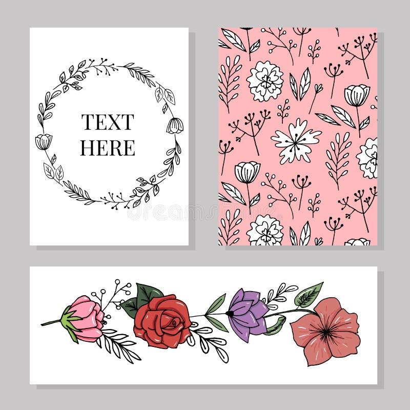 De bloemen elegante Huwelijksuitnodiging nodigt, dankt u uit, rsvp, sparen de bloem van de het Ontwerptuin van de Datumkaart in n stock illustratie