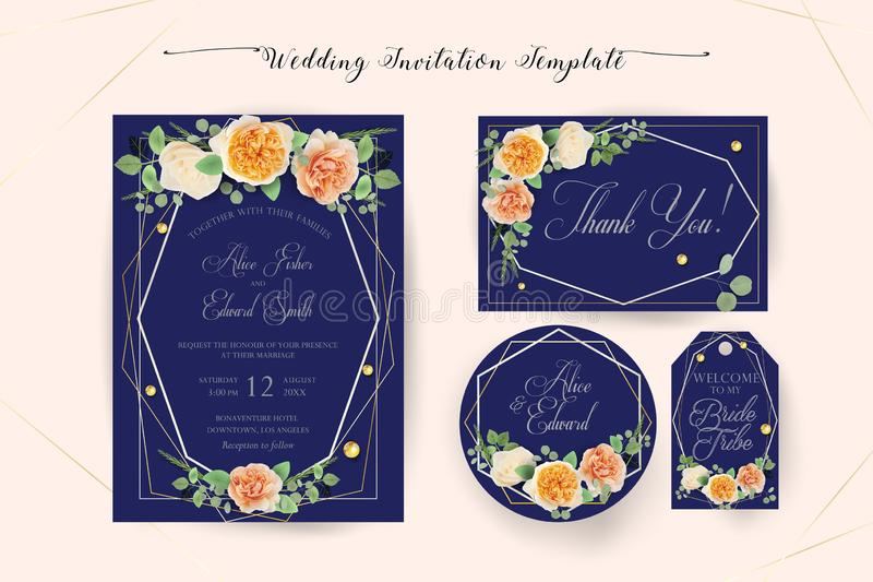 De bloemen elegante Huwelijksuitnodiging nodigt, dankt u uit, rsvp, sparen de Datum, Bruids Douchekaart stock illustratie