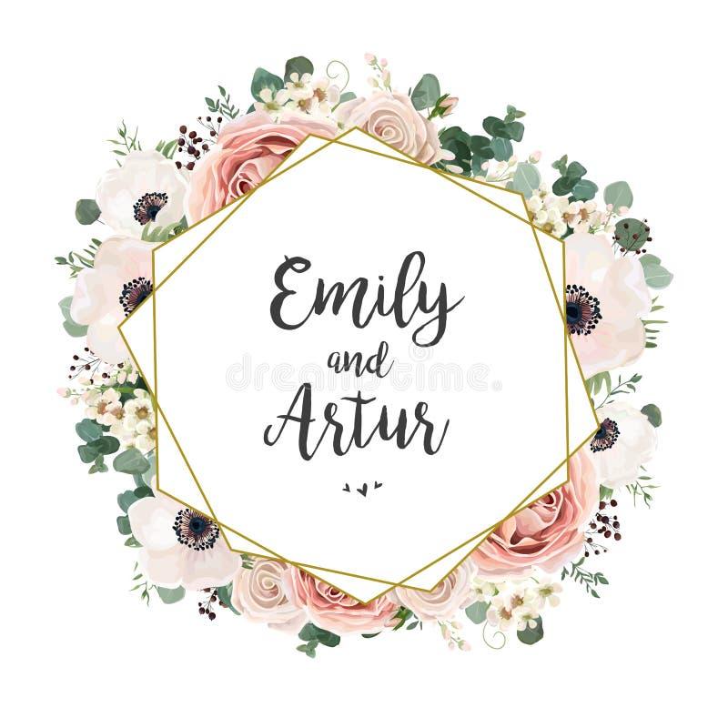 De bloemen elegante Huwelijksuitnodiging nodigt kaart vectorontwerp uit: geep stock illustratie
