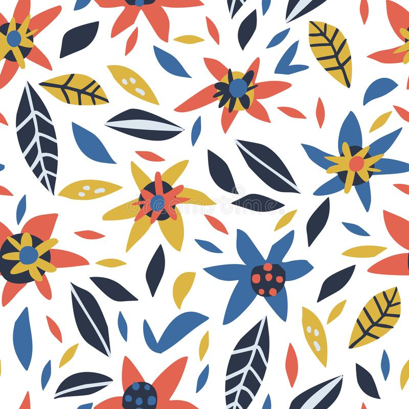 De bloemen en de bladeren overhandigen getrokken naadloos patroon stock illustratie