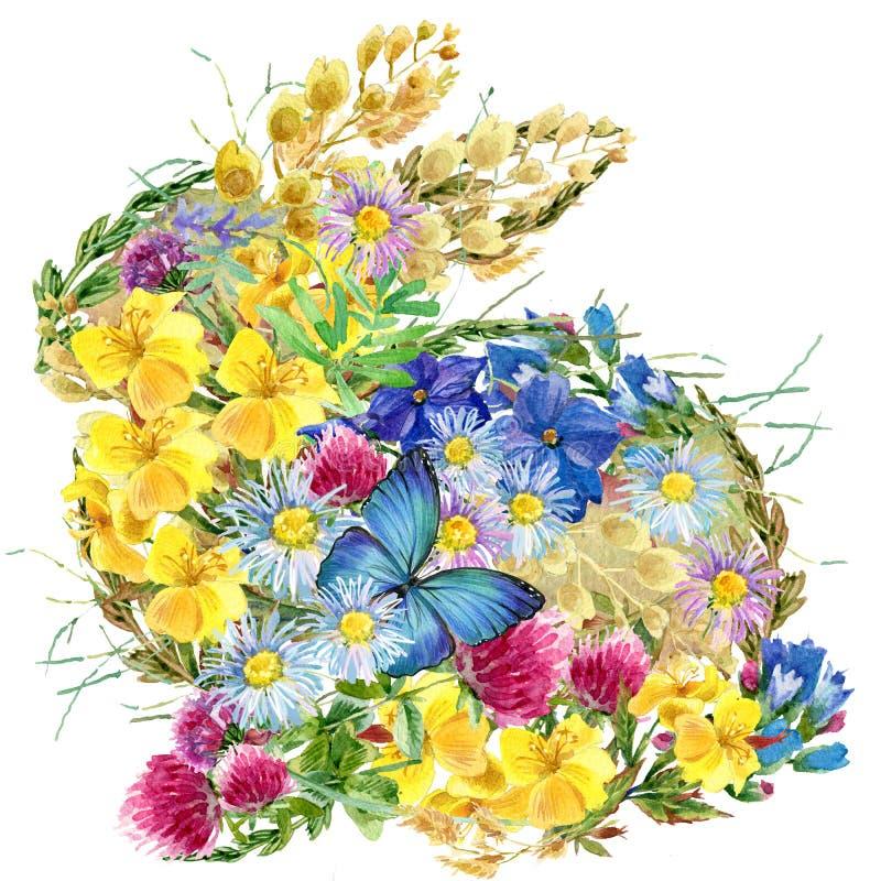De bloemen en de vlinders van het waterverfkonijntje vector illustratie