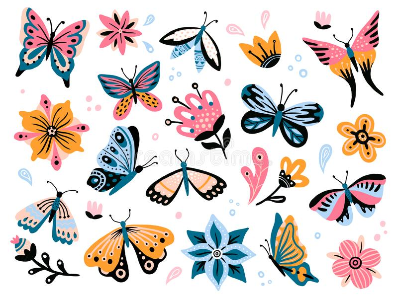 De bloemen en de vlinders van de lente Kleurrijke tuinbloem, bloemendecor en elegante butterfy geïsoleerde vectorreeks royalty-vrije illustratie