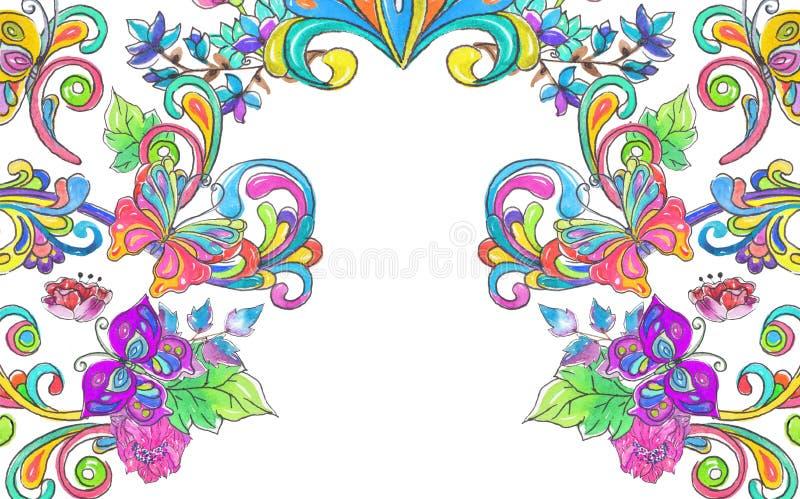 De bloemen en de vlinderskader van de waterverfkleur vector illustratie