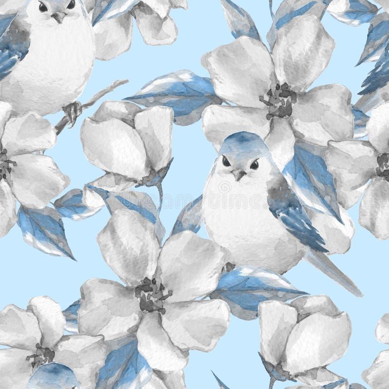 De bloemen en de vogels van de lente Naadloos patroon stock illustratie