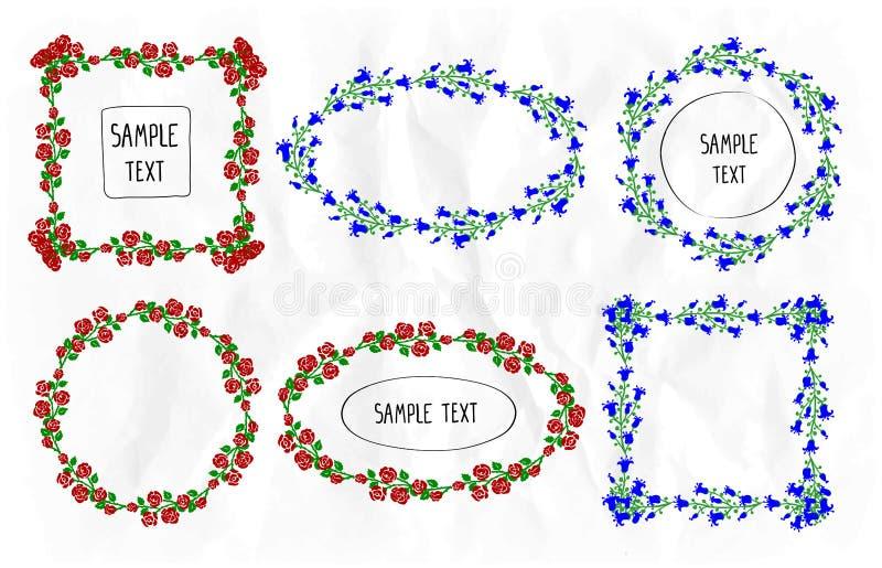 De bloemen geplaatste kaders, de ronde, vierkante en ovale verfraaide kadersinzameling namen en de klokjebloemen toe vector illustratie