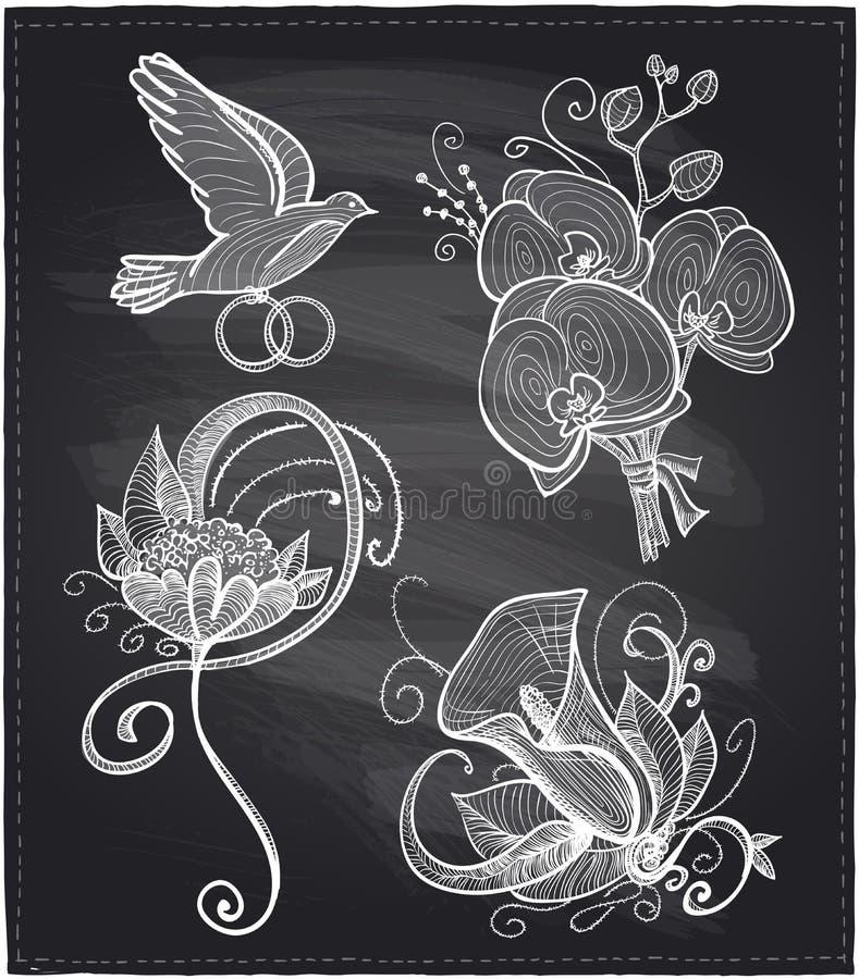 De bloemen getrokken grafische reeks van het bordhuwelijk vector illustratie