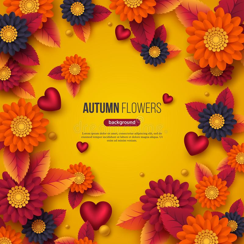 De bloemen de herfstachtergrond met 3d document sneed stijlbloemen, bladeren en decoratieve harten Gele, oranje, purpere kleuren vector illustratie