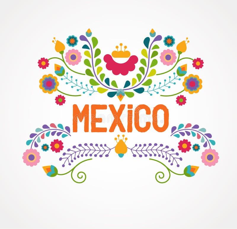 De bloemen, het patroon en de elementen van Mexico stock illustratie
