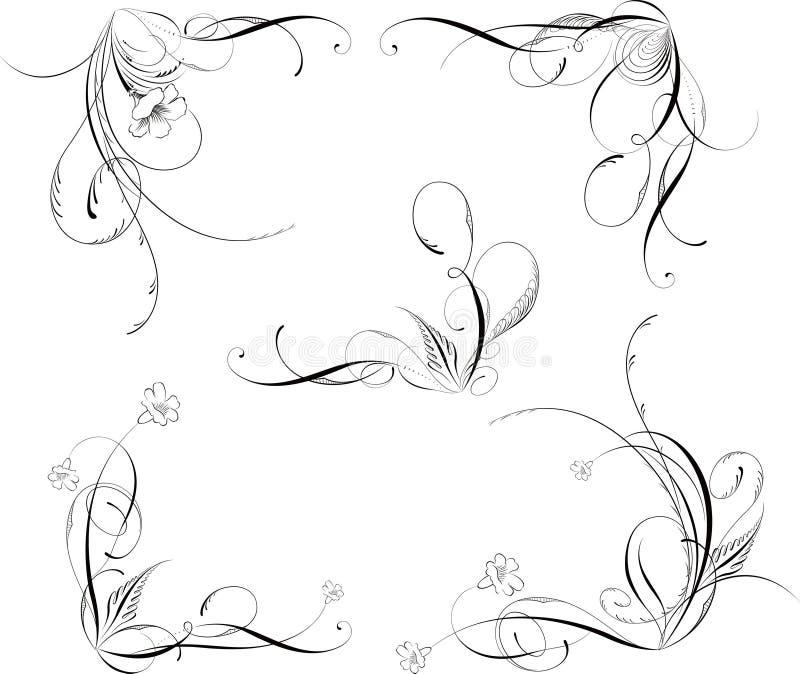 De bloemen hoeken van ontwerpelementen royalty-vrije illustratie