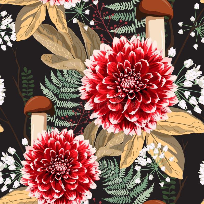 De bloemen, de kruiden en de paddestoelen naadloos patroon van de de herfstdahlia vector illustratie