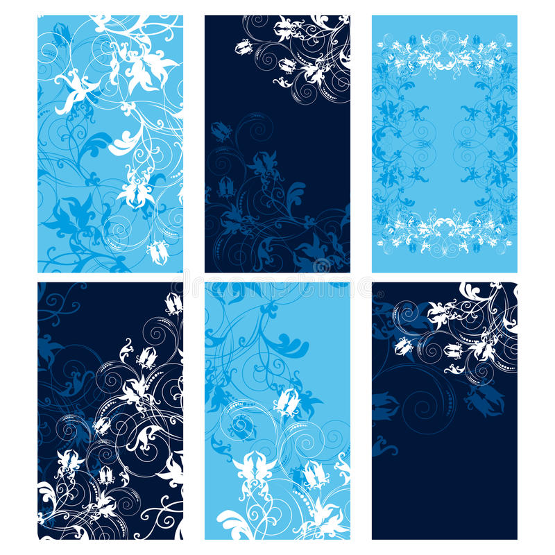 De bloemen malplaatjes van kortingskaarten. royalty-vrije illustratie