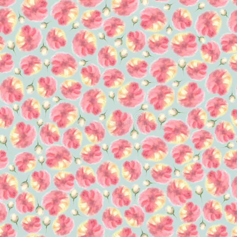 De bloemen naadloze textuur van de waterkleur, onduidelijk beeldbloem stock illustratie