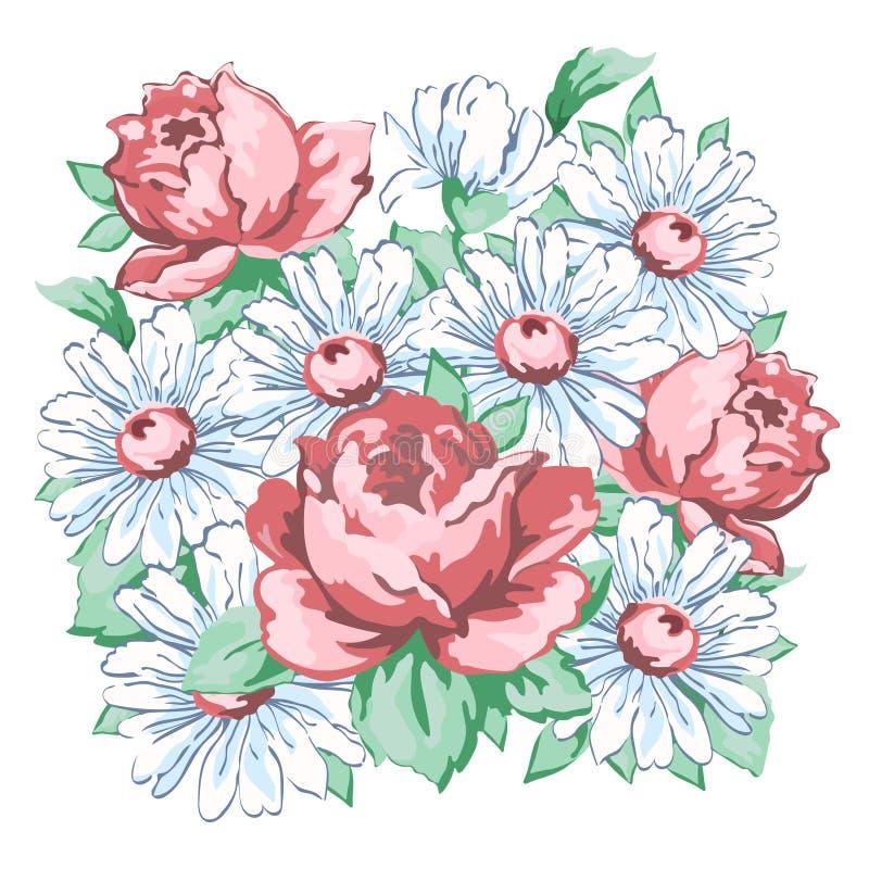 De bloemen overhandigen getrokken, bloemenborduurwerkontwerp, stoffendruk, vector bloemenornament De bloemsamenstelling van de ha vector illustratie
