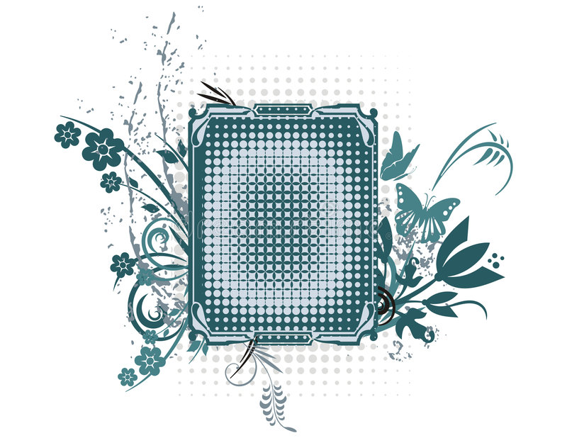 De bloemen Reeks van het Frame Grunge vector illustratie